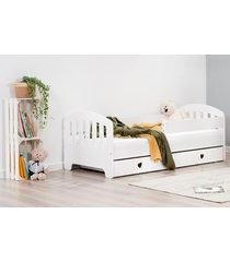 łóżko sweet armadillo z szufladą serca białe