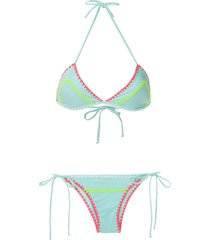 brigitte crochet neon bikini set - blue