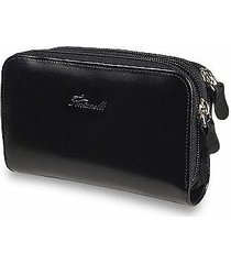 fontanelli designer wallets, black polished calf leather zip wallet