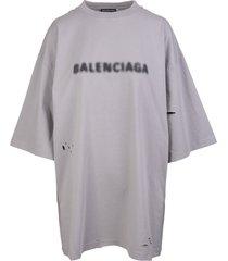 balenciaga man grey wide line blurry t-shirt