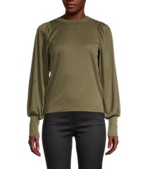 love ady women's balloon-sleeve ribbed top - olive - size m