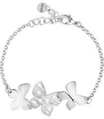 bracciale farfalle in ottone rodiato e glitter per donna