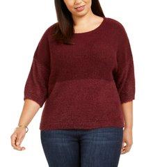 belldini plus size contrast-knit sweater
