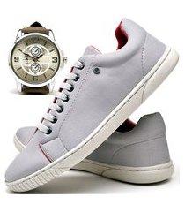 tênis sapatênis casual glamour com relógio new dubuy 940od cinza