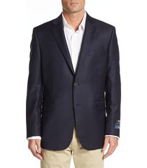 saks fifth avenue made in italy men's slim fit wool blazer - navy - size 36 r