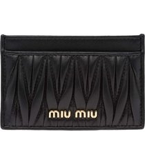 women's miu miu matelasse card case - black