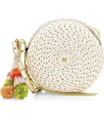 eric javits women's squishee bali raffia circle crossbody bag - coral mix