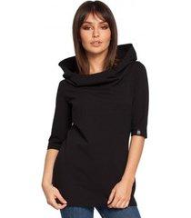 sweater be b026 korte mouwen blouse met kap - zwart