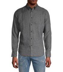 rag & bone men's spread collar linen-blend shirt - grey - size s