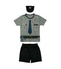 fantasia policial shorts e camiseta douvelin cinza