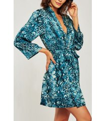 icollection ultra soft print wrap robe, online only