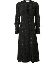 mame kurogouchi floral print tassel detail dress - black