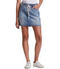 hudson jeans frayed cotton denim skirt
