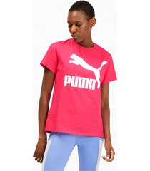 classics logo t-shirt voor dames, roze, maat xs | puma