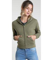 blusão feminino básico em moletom felpado com capuz verde militar