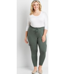 maurices plus size womens green ultra soft tie waist jogger pants
