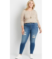 maurices plus size womens denimflex™ high rise medium tinted destructed jegging blue