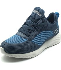 tenis running skechers bobs sport squad turn up - azul