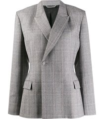 balenciaga double-breasted fitted waist blazer - grey
