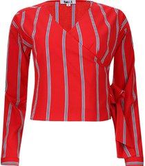 blusa a rayas cruzada en frente color rojo, talla 12