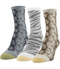 gold toe women's 3-pk. designer collection snakeskin & tiger crew socks