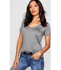 basic super soft v neck t-shirt, charcoal
