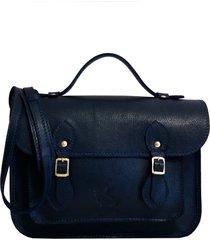 bolsa line store leather satchel pequena couro marinho.