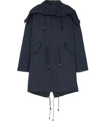 calvin klein 205w39nyc logo embroidered over sized parka coat - blue