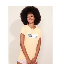 "blusa de moletinho feminina cool trend"" manga curta decote redondo laranja"""