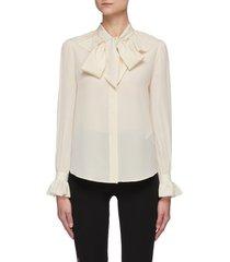 bow collar ruffle cuff blouse