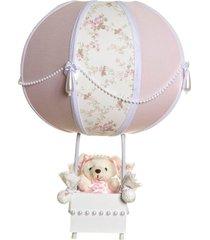 abajur balãozinho ursinha com pérolas quarto bebê infantil potinho de mel rosa