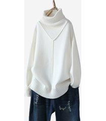 maglione casual a manica lunga con collo alto e sciolto a tinta unita