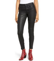 women's blanknyc reptile texture coated mid rise jeggings, size 29 - black