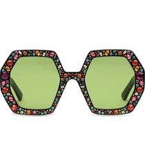 gucci eyewear square crystal-embellished sunglasses - black