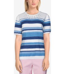 alfred dunner petite classics embellished striped sweater