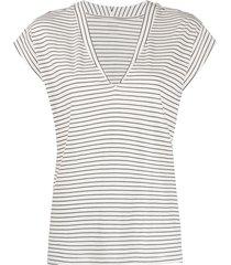 frame horizontal-stripe v-neck t-shirt - neutrals
