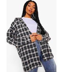 geruite oversized blouse met capuchon, zwart