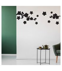 adesivo de parede floral preto para sala 163x50cm