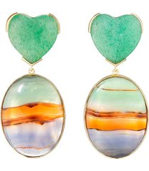guita m 18kt yellow gold, stripe agate and jade heart earrings - blue