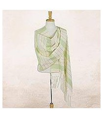 cotton rebozo shawl, 'jade diamonds' (mexico)