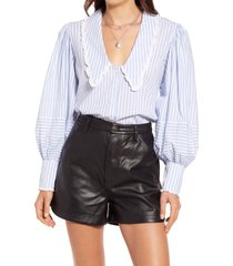 women's free people bexley stripe button-up top, size small - blue