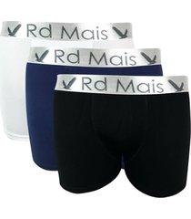kit 3 cuecas rd mais boxer preto/branco/azul