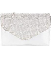 badgley mischka women's embellished metallic convertible envelope clutch - silver
