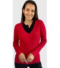 sweater io  liso rojo - calce ajustado