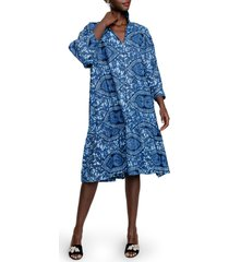women's the oula company sophisticate print shift dress, size one size - blue