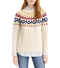 j.crew fair isle sweater, size 3 x in natural multi at nordstrom