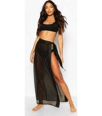 satin tie beach sarong, black