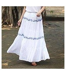cotton maxi skirt, 'botanical whimsy' (india)