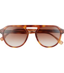 fendi 54mm gradient navigator sunglasses in blonde havana /gradient brown at nordstrom