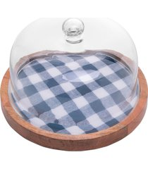 queijeira madeira com tampa vidro xadrez 24cm